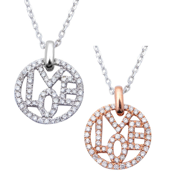 ".35ct Diamond LOVE pendant available in White or Rose Gold with 18"" Chain"