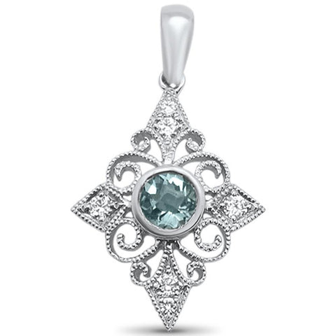 <span>GEMSTONE CLOSEOUT! </span> 0.32cts 14k White gold Round Aquamarine Diamond Filigree Pendant