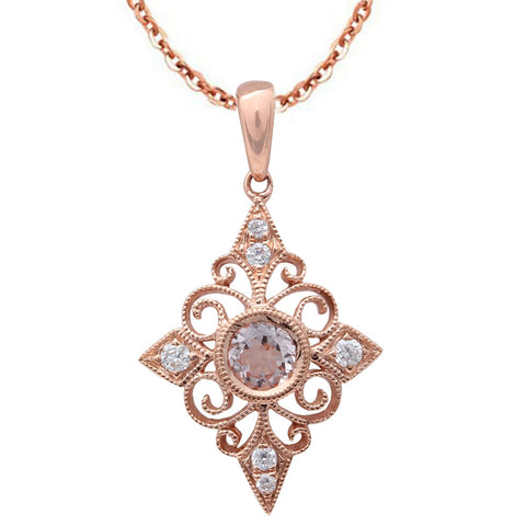 .39CT F VS Morganite & Diamond Vintage Inspired 14kt Rose Gold Pendant Necklace