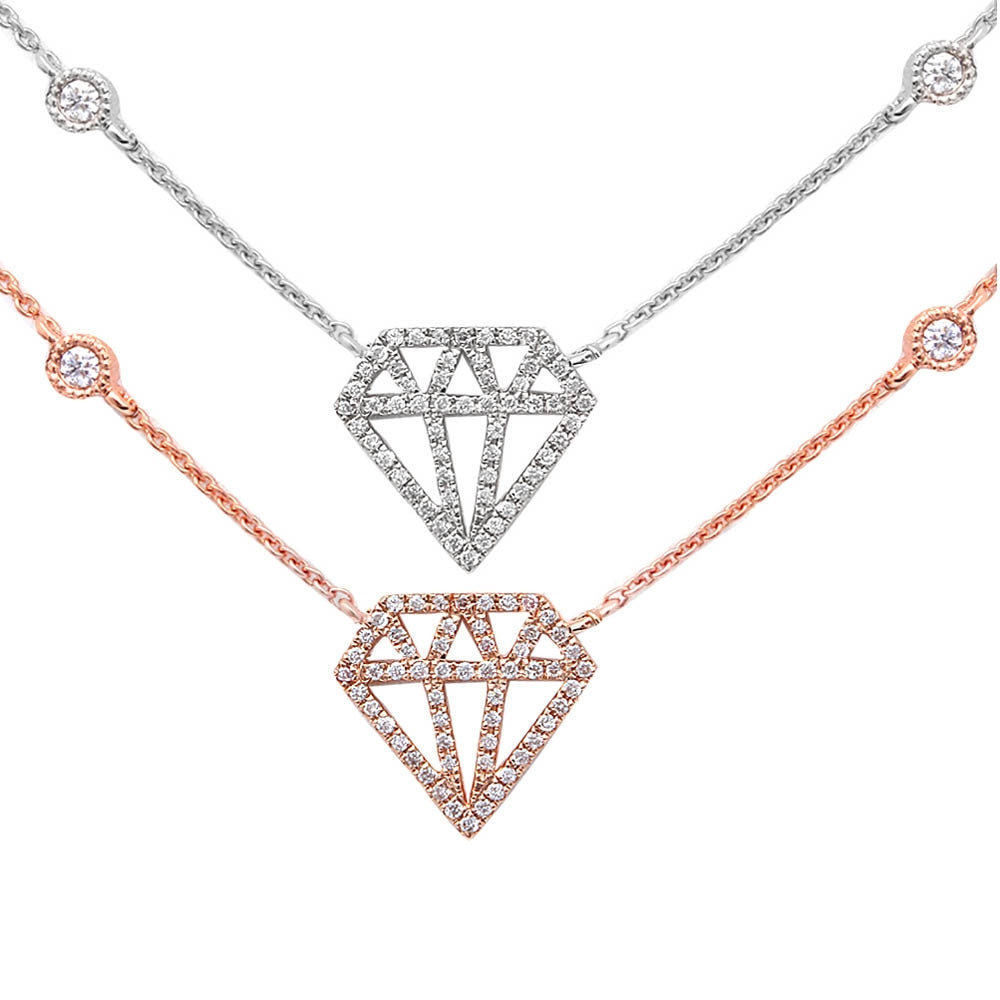 "<span>DIAMOND CLOSEOUT! </span>.15ct Modern Diamond Cut out Diamond 14kt White or Rose Gold 17"" Necklace"