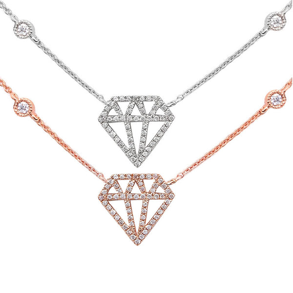 ".15ct Modern Diamond Cut out Diamond 14kt White or Rose Gold 17"" Necklace"