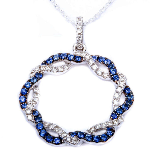 <span>GEMSTONE CLOSEOUT! </span>.54ct Twisted Band Circle of Life Blue Sapphire & Diamond Pendant Necklace