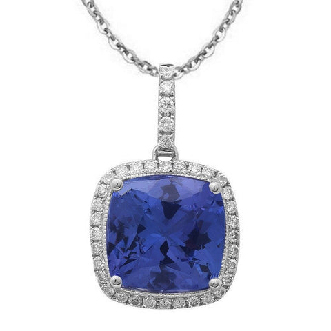 1.98ct Genuine Tanzanite Diamond Halo Style Solitaire Pendant