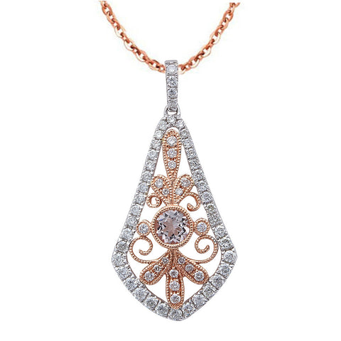 .78ct F VS Morganite & Diamond Vintage Inspired 14kt Rose Gold Pendant Necklace