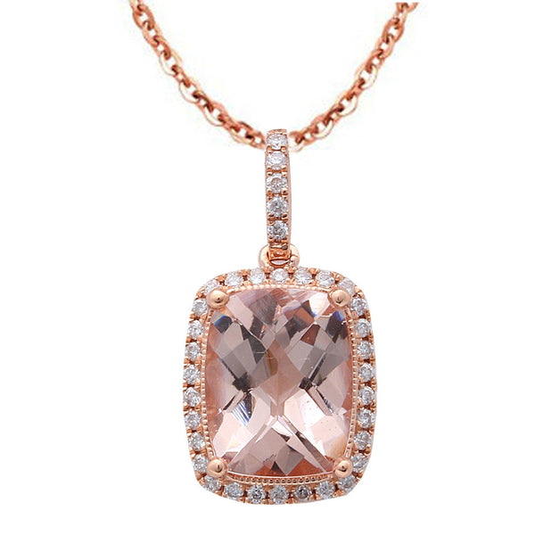 "1.93CT F VS Morganite & Diamond Halo Style 14kt Rose Gold Pendant 18"" Necklace"