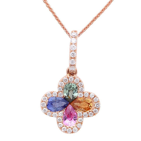 <span>GEMSTONE CLOSEOUT! </span>.87CT Multi Gemstone & Diamond Pendant