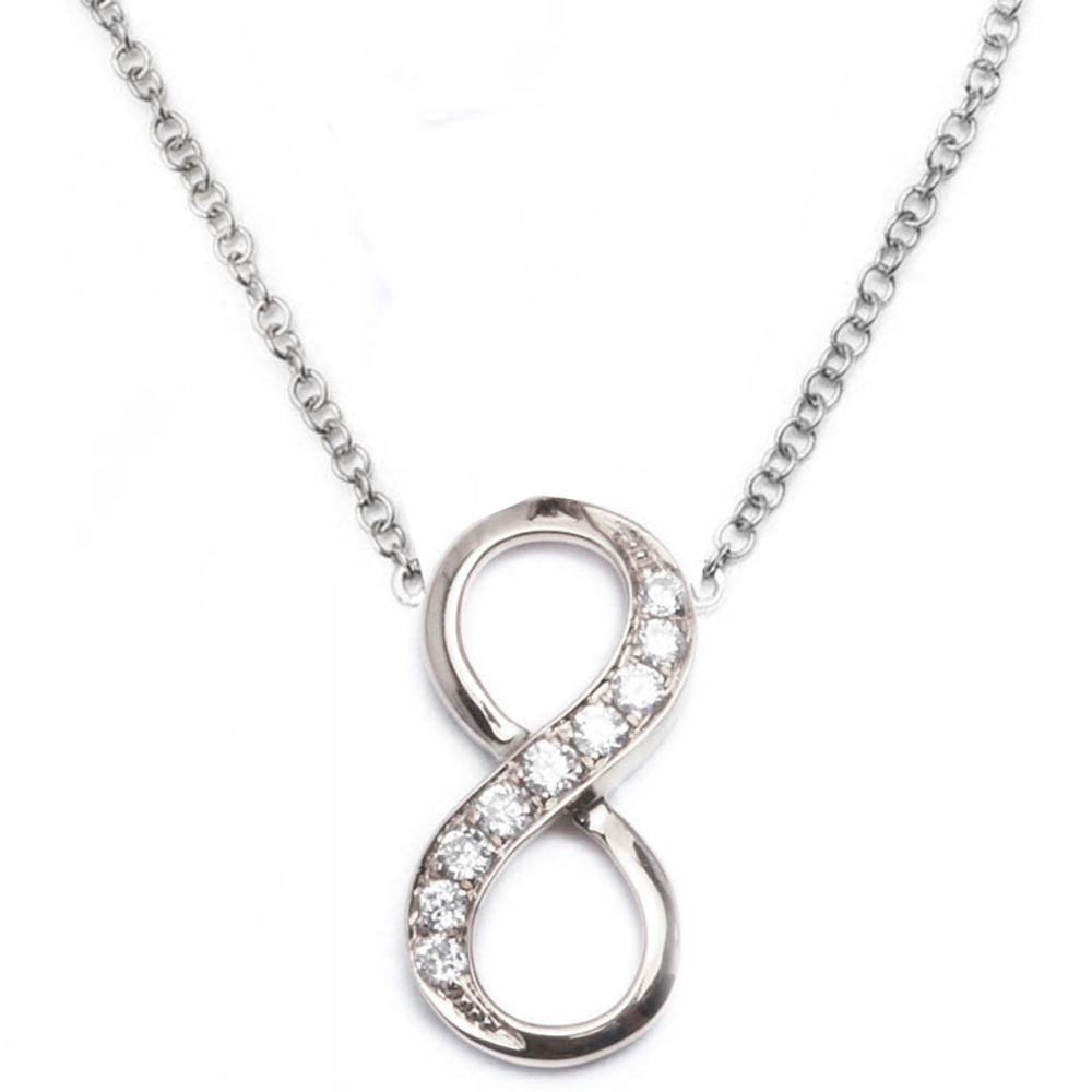 <span>DIAMOND CLOSEOUT! </span>.09ct 14kt White Gold Infinity Diamond Pendant
