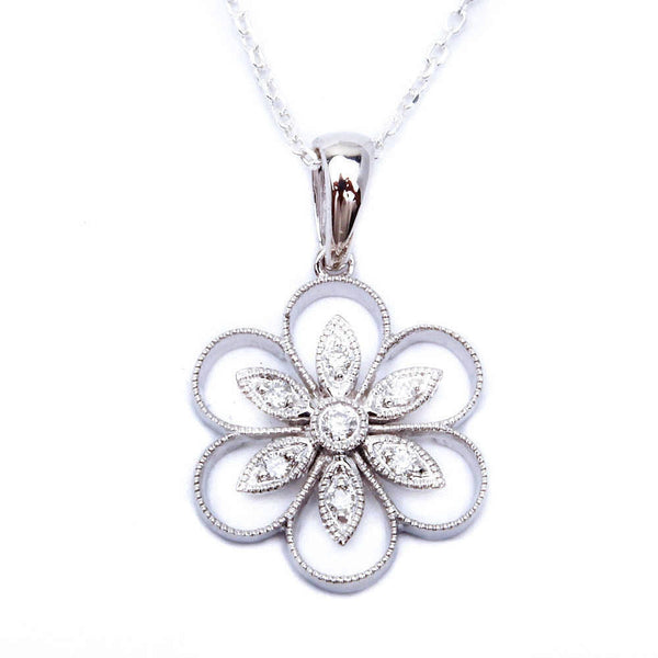 "14kt gold Flower Motif Designer Pendant Necklace 18"" Chain"