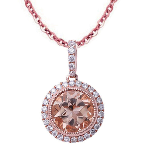 1.35ct F VS Round Morganite & Diamond Halo 14kt Rose Gold Pendant Necklace
