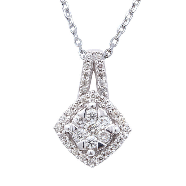 ".25ct Princess Cut Diamond Solitaire Pendant Necklace 14kt White gold 18"" Chain"