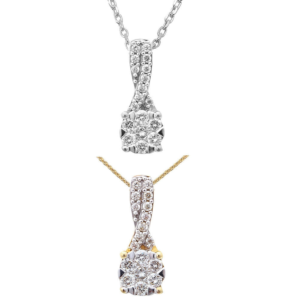 <span>DIAMOND CLOSEOUT! </span>.21ct Round Solitaire Diamond Pendant 14kt White or Yellow Gold Necklace 18""