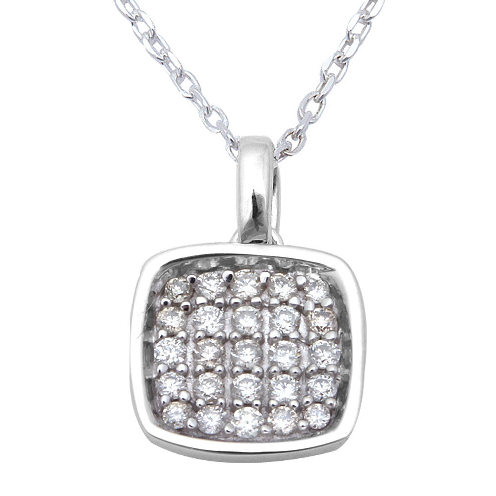 ".15ct Princess Shaped Diamond Pendant Necklace 14kt White Gold 18"" Chain"