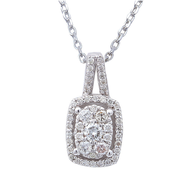 ".28ct Oval Halo Shaped Diamond Pendant 14kt White Gold 18"" Chain"