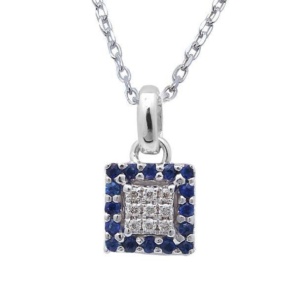 ".15cts Round Diamond & Blue Sapphire Solitaire Pendant 18"" White Gold Chain"