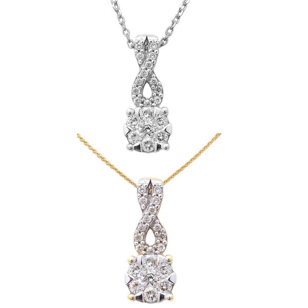 .20ct Round Solitaire Diamond Pendant 14kt White or Yellow Gold Necklace 18""