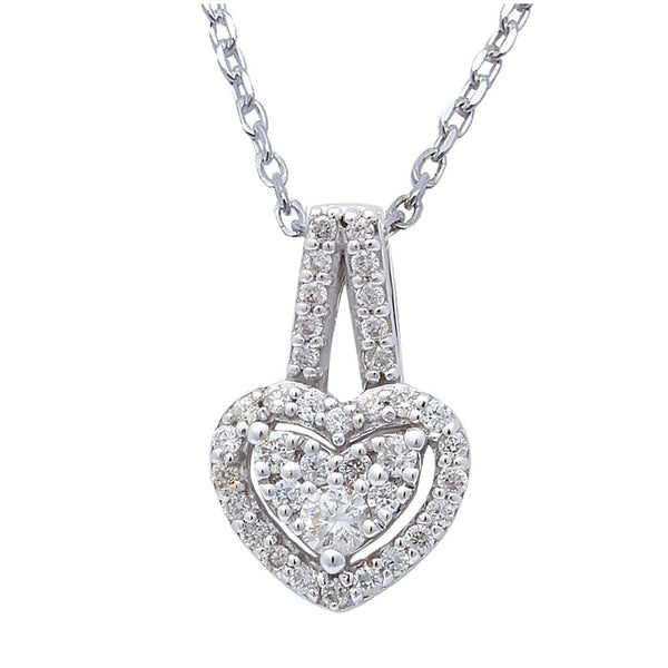 ".22cts Heart Diamond Solitaire Pendant Necklace 14kt White gold 18"" Chain"