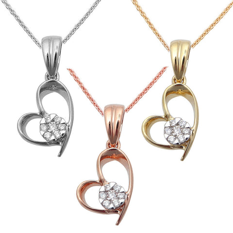 ".06ct Diamond Heart Solitaire Pendant 14kt White, Rose or Yellow Gold 18"" Chain"