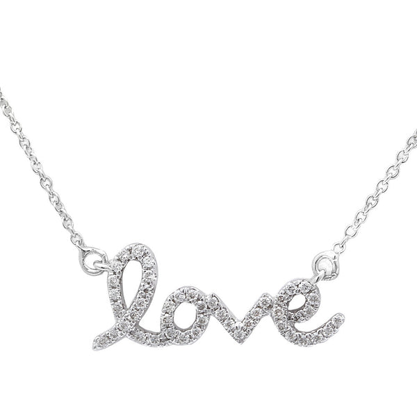 ".13ct ""Love"" Diamond Necklace Pendant 16-18"" Adjustable Chain"