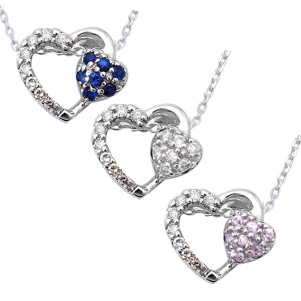 ".12ct Heart Cut Diamond, Pink or Blue Sapphire Pendant Necklace 18"" 14kt Chain"