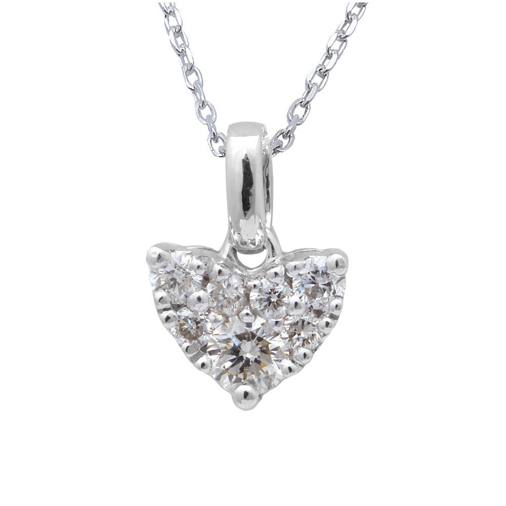 "<span>DIAMOND CLOSEOUT! </span>.25ct Heart Diamond Solitaire Pendant 14kt White Gold Necklace 18"" Chain"