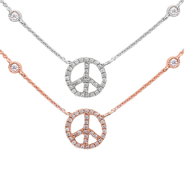 ".10ct Diamond Peace Sign on a Diamond Bezel Necklace 17"" 14kt White or Rose Gold"