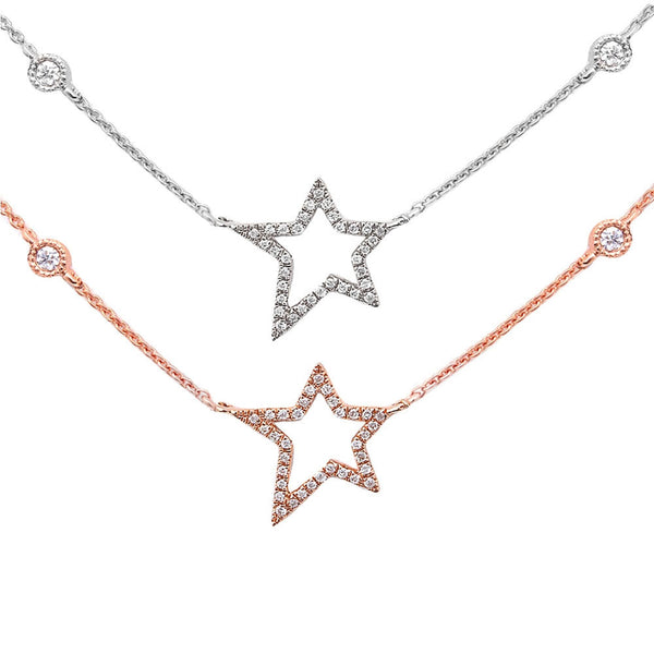 ".11ct Shooting Star Modern Diamond Pendant 14kt White or Rose Gold 17"" Necklace"