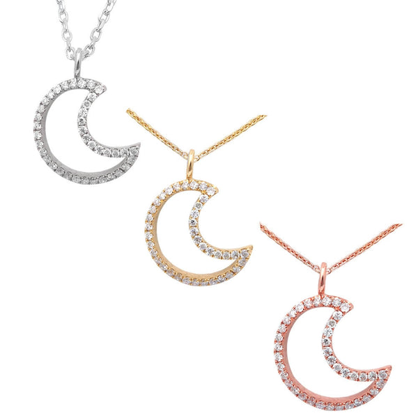 .16CT Half Moon Cut out Diamond Pendant 14kt White, Yellow or Rose Gold 17""