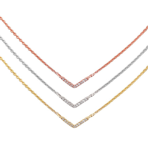 .02CT Diamond Elegant 14kt White, Rose or Yellow Gold Chain 17 inches Long