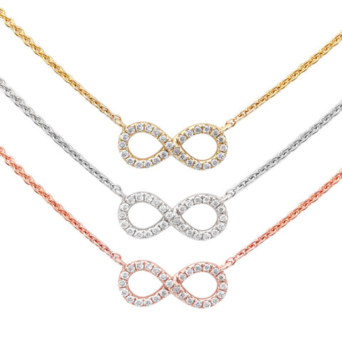 .06ct Designer Infinity Love Necklace 14kt White, Rose or Yellow Gold Chain 17 inches
