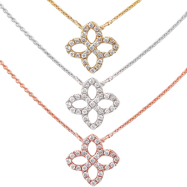 .06ct Diamond Flower 14kt White, Yellow or Rose Gold Necklace 17 inches Long