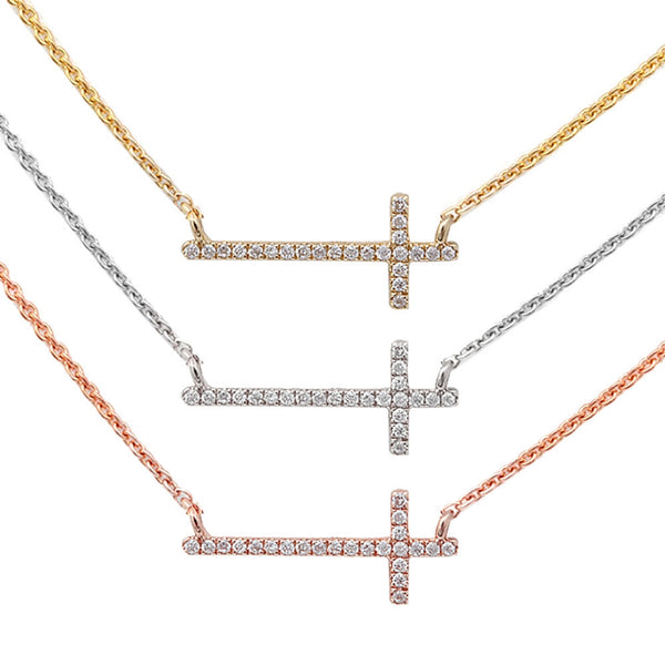 .05ct Designer Sideways Cross Necklace 14kt White, Rose or Yellow Gold Chain 17 inches