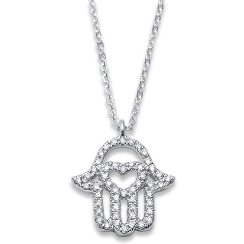 .14ct F SI1 14k White Gold Hand of Hamsa Diamond Pendant Necklace 17""
