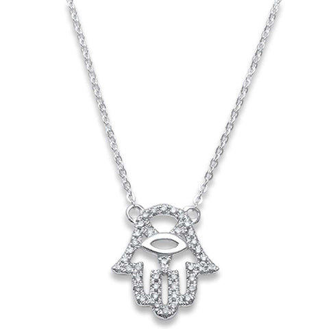 .11ct F SI1 14k White Gold Hand of Hamsa Diamond Pendant Necklace 17""
