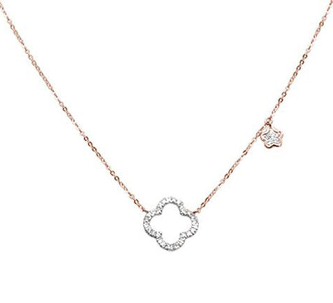 "0.17cts 14k Rose Gold Diamond Clover Necklace 18"" + 2"" Ext"