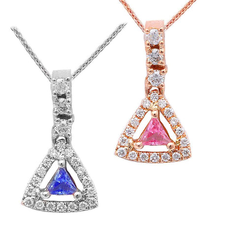 ".50ct Pink-Blue Sapphire Drop Diamond Pendant 18"" Chain 14kt White-Rose Gold"