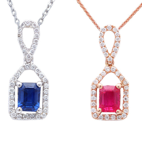 <span>GEMSTONE CLOSEOUT! </span>.68ct Ruby-Blue Sapphire Drop Diamond Pendant
