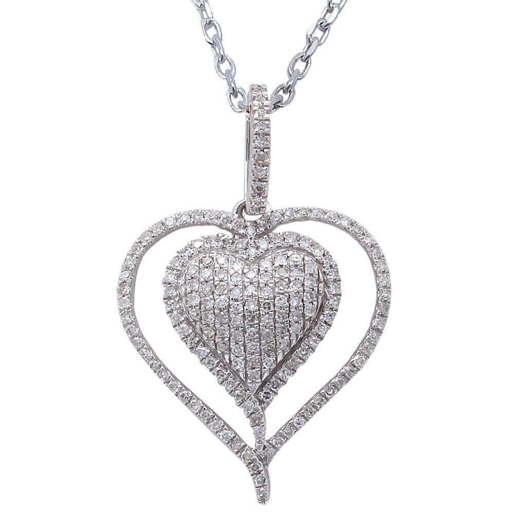 ".24ct F SI Round Diamond Pave Set Heart Pendant 14kt White Gold 18"" Long"