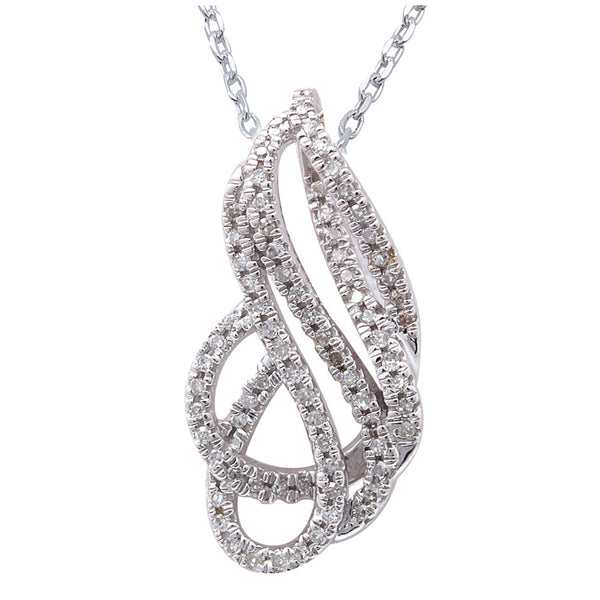 ".19ct F SI Diamond Modern Fine Pendant 14kt White Gold 18"" Long"