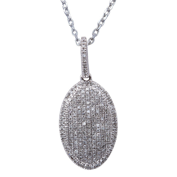 ".26ct F SI Diamond Oval Pave Set Drop Pendant 14kt White Gold 18"" Long"