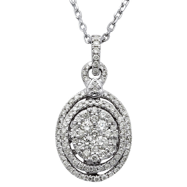 1.01ct Oval Diamond Halo Solitaire Drop Necklace Pendant 14kt White Gold 18""