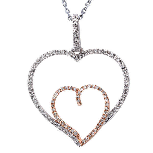 ".16ct F SI Round Diamond Pave Set Heart Pendant 14kt Two Tone 18"" Long"