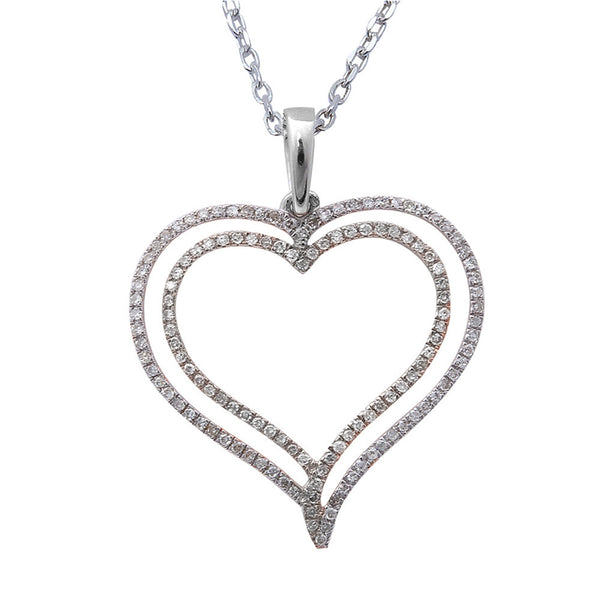 ".16ct F SI Round Diamond Pave Set Heart Pendant 14kt White Gold 18"" Long"
