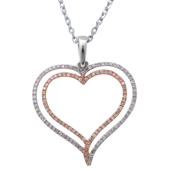 ".19ct F SI Round Diamond Pave Set Heart Pendant 14kt Rose & White Gold 18"" Long"