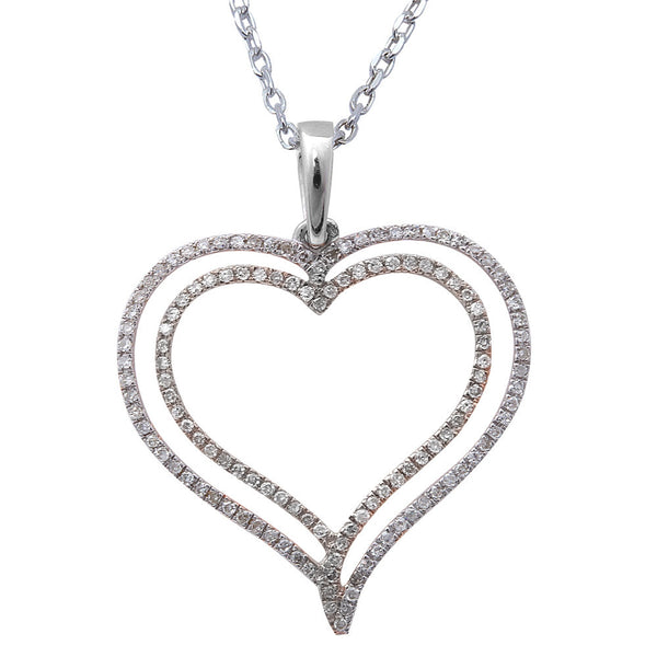 ".19ct F SI Round Diamond Pave Set Heart Pendant 14kt White Gold 18"" Long"
