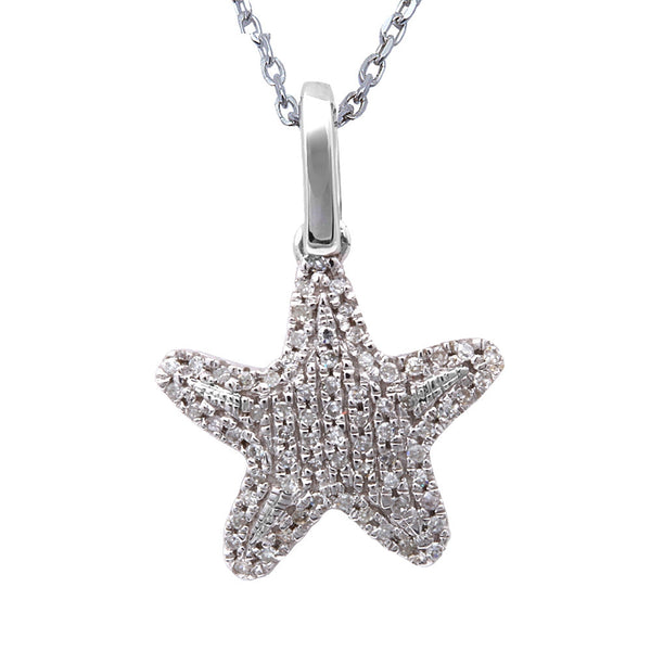 ".11ct F SI Round Diamond Pave Set Star Starfish Pendant 14kt White Gold 18"" Long"