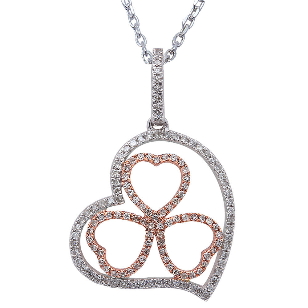 .19ct F SI Diamond Pave Set Clover Heart Pendant 14kt White & Rose Gold 18""