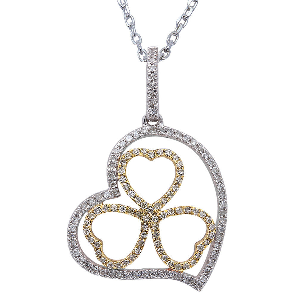 .19ct F SI Diamond Pave Set Clover Heart Pendant 14kt White & Yellow Gold 18""