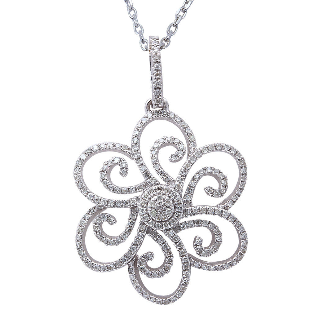 "<span>DIAMOND CLOSEOUT! </span>.33ct F SI Diamond Flower Pendant 14kt White Gold 18"" Long"