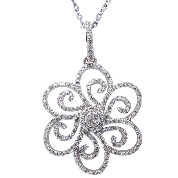 ".33ct F SI Diamond Flower Pendant 14kt White Gold 18"" Long"