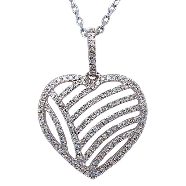 ".20ct F SI Round Diamond Pave Set Heart Pendant 14kt White Gold 18"" Long"